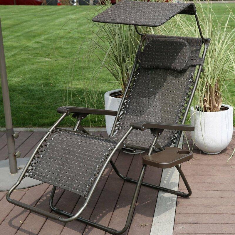 Reclining Folding Zero Gravity Chair With Cushion