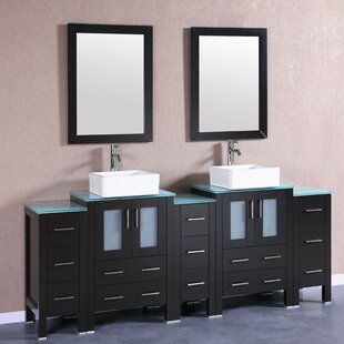 Milan 84 Double Bathroom Vanity Set with Mirror by Bosconi