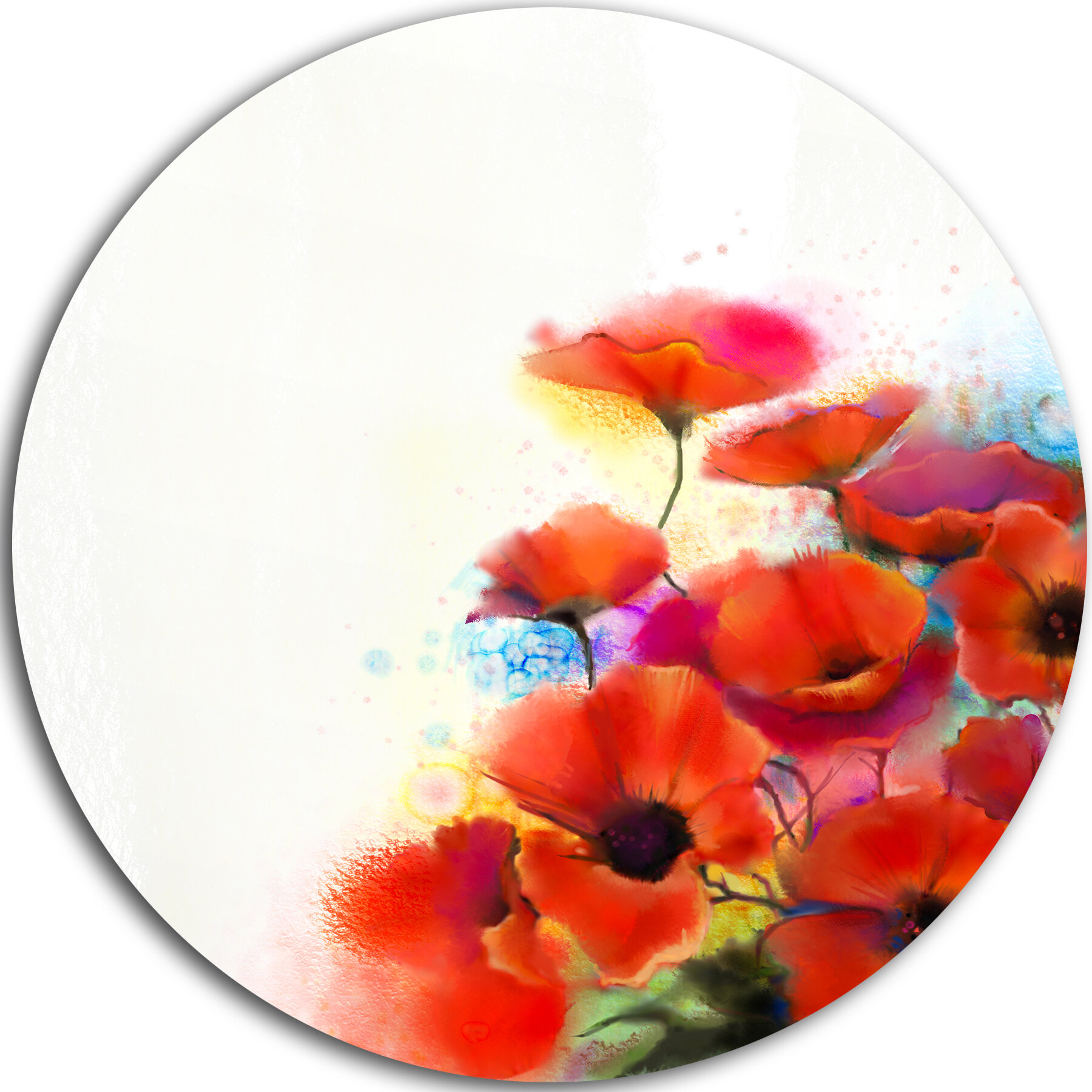 Designart Bunch Of Watercolor Poppy Flowers Painting Print On