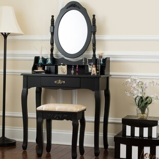 Bentonville Vanity Set with Mirror and Stool