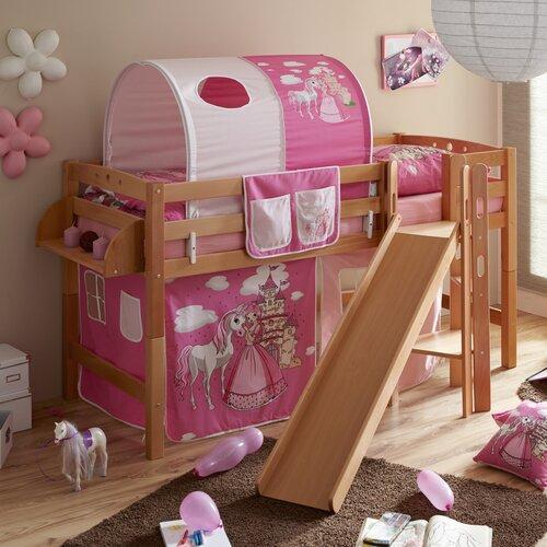 Halbhochbett Tino mit Vorhang  90 x 200 cm | Kinderzimmer > Kinderbetten | Pink/natur | Buchenholz - Massiver - Holz | TICAA