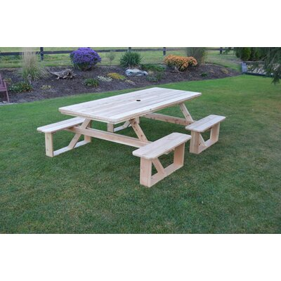 Bercht Solid Wood Picnic Table by August Grove