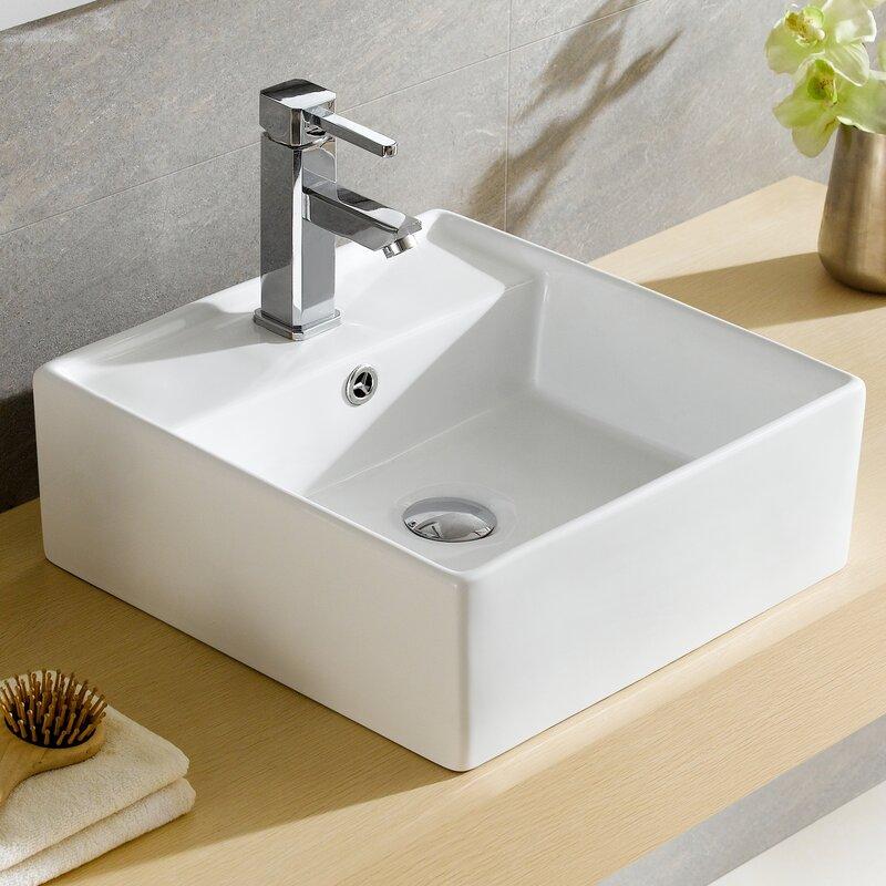 Fine Fixtures Modern Ceramic Square Vessel Bathroom Sink ...