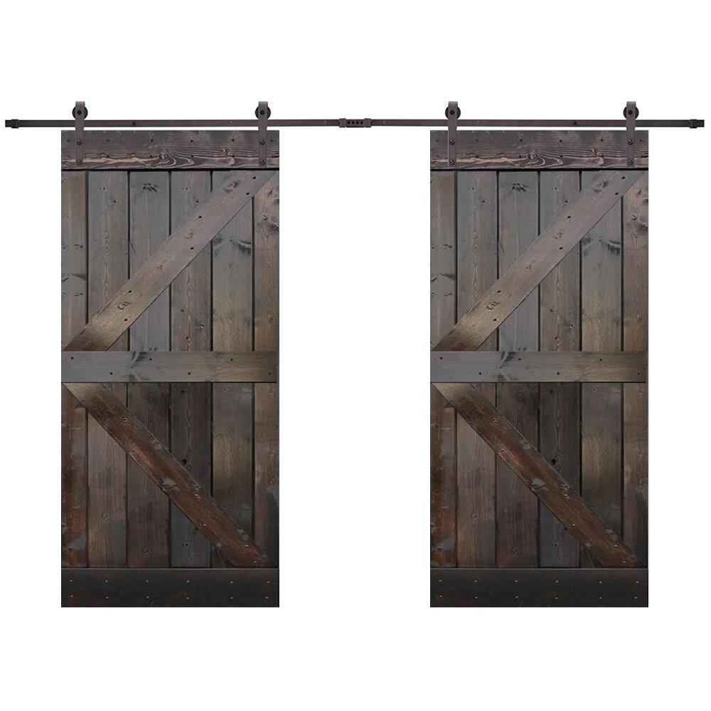 Paneled Wood Primed Z Bar Barn Door With Installation Hardware Kit