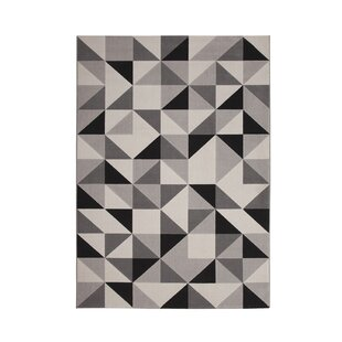Best Reviews Barcroft Gray/Black Area Rug By Wade Logan