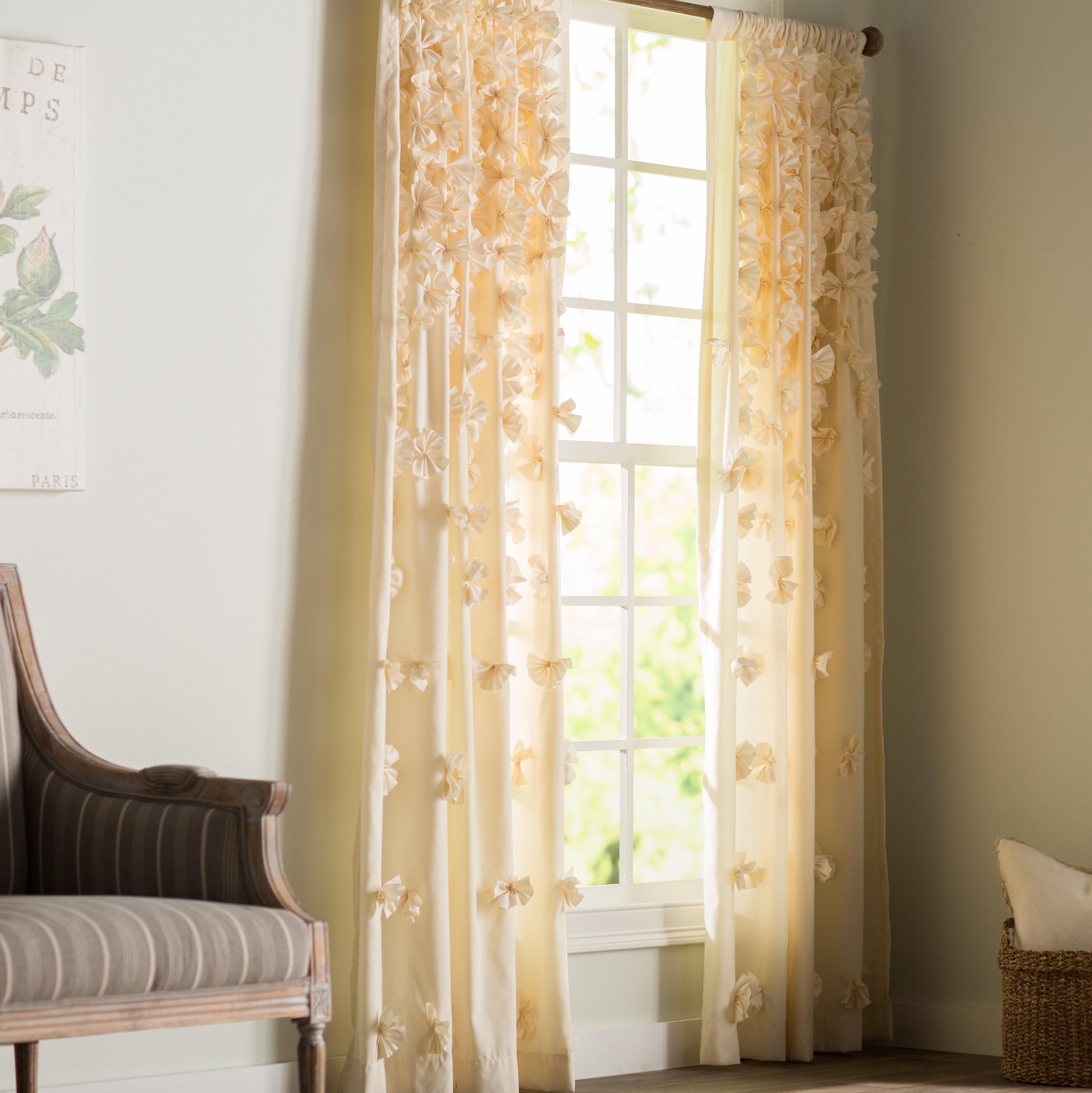 Ophelia Co Clarkstown Floral Semi Sheer Rod Pocket Single Curtain Panel Reviews Wayfair