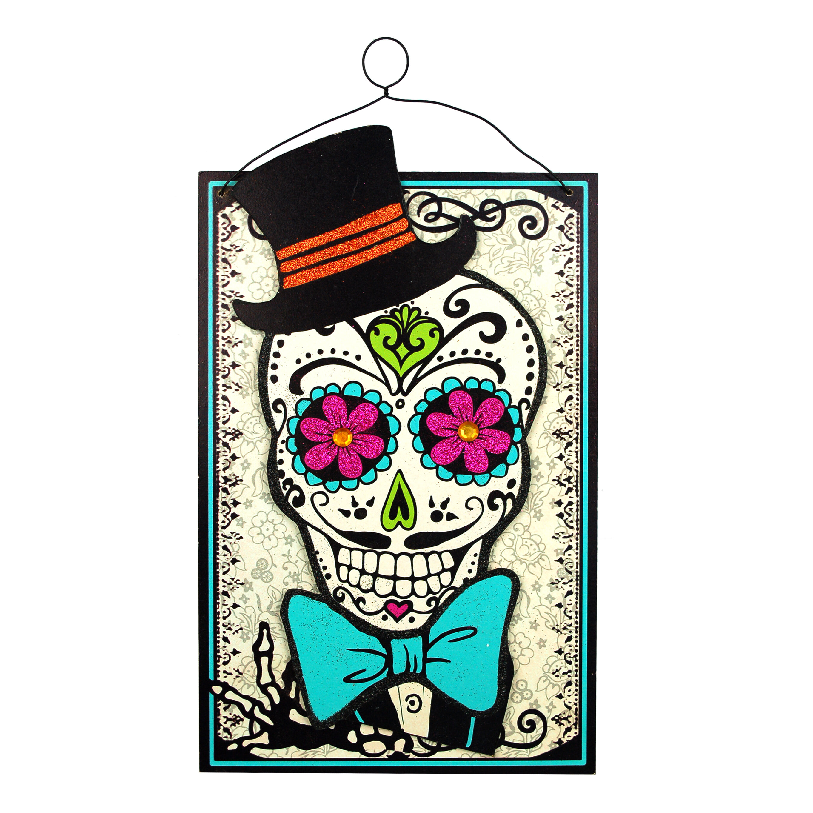 The Holiday Aisle Day Of Dead Smiling Couple Graphic Art Print On Wood