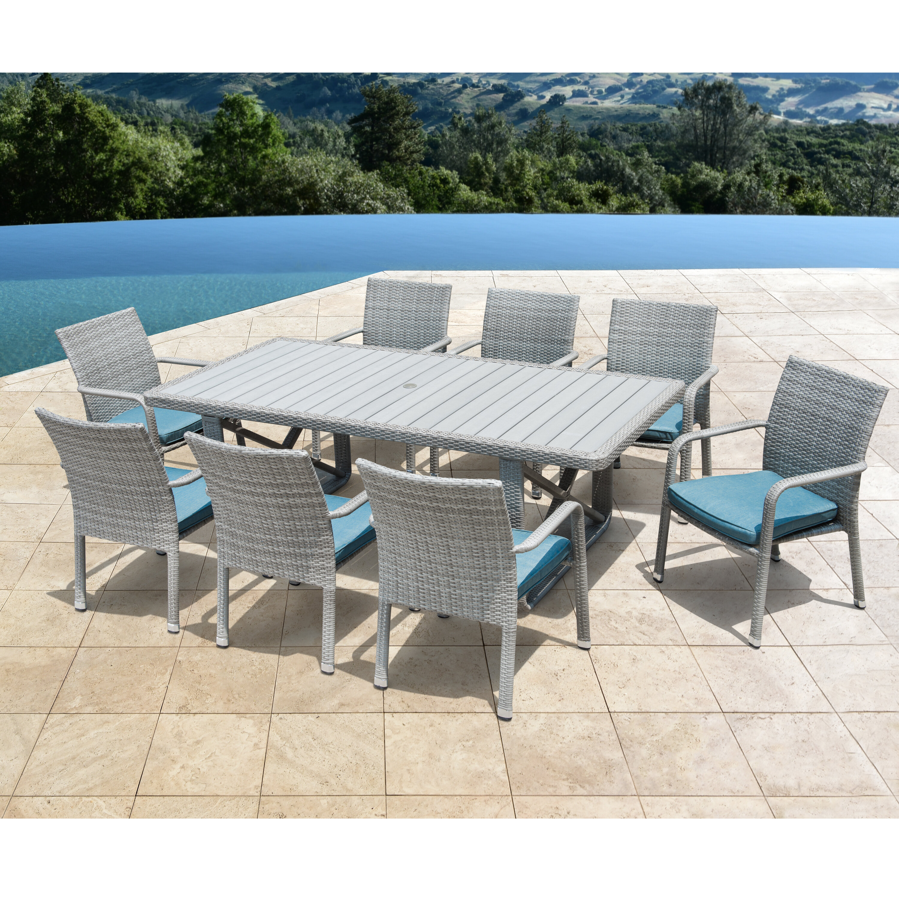 Weber 9 Piece Patio Dining Set With Cushions