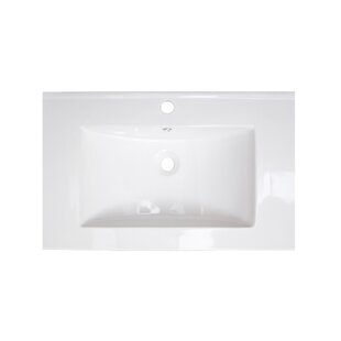 American Imaginations Flair Ceramic Rectangular Drop-In Bathroom Sink with Over Flow