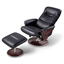 norman leather swivel recliner and ottoman