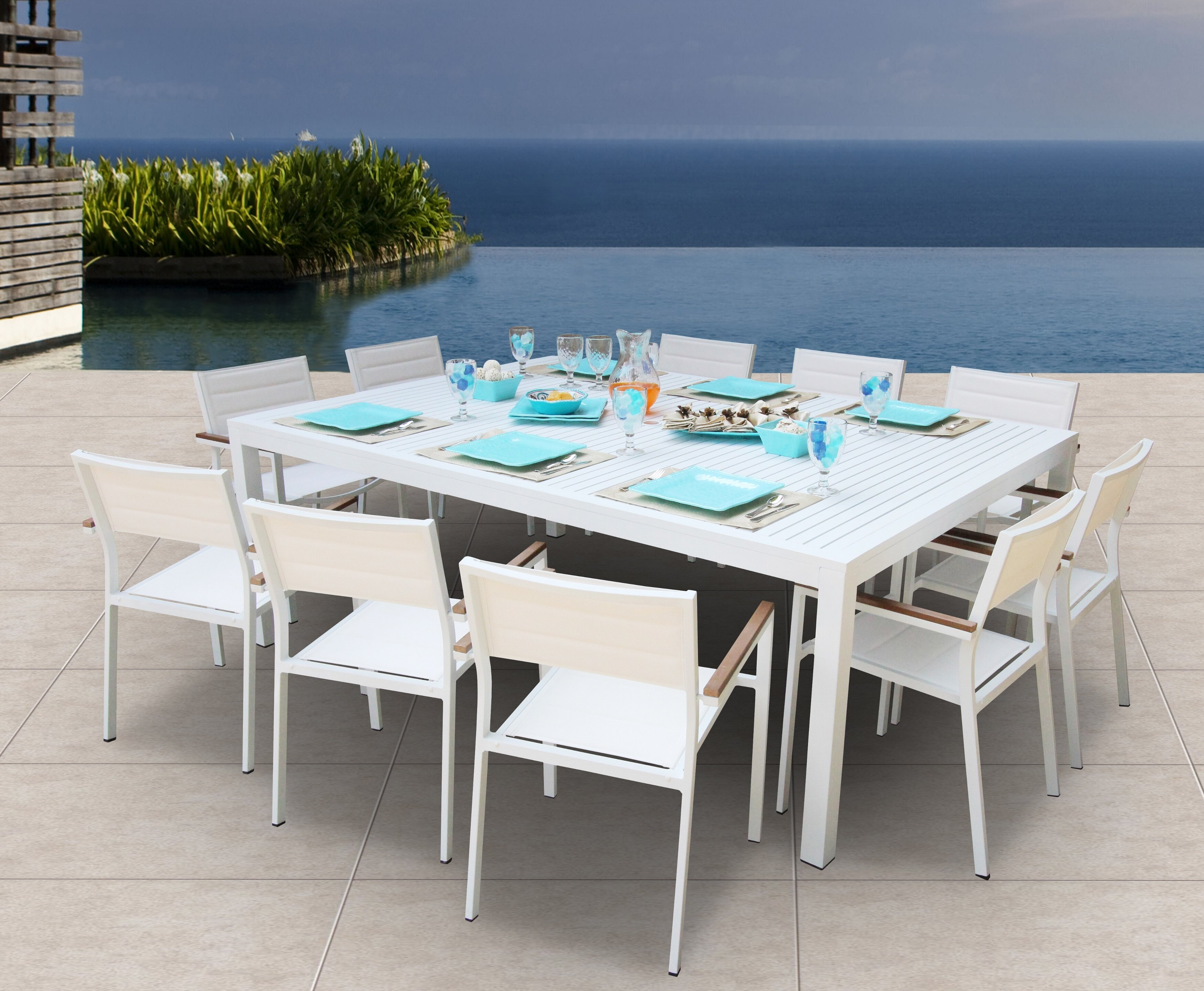 Orren Ellis Rizzuto 11 Piece Teak Dining Set & Reviews | Wayfair