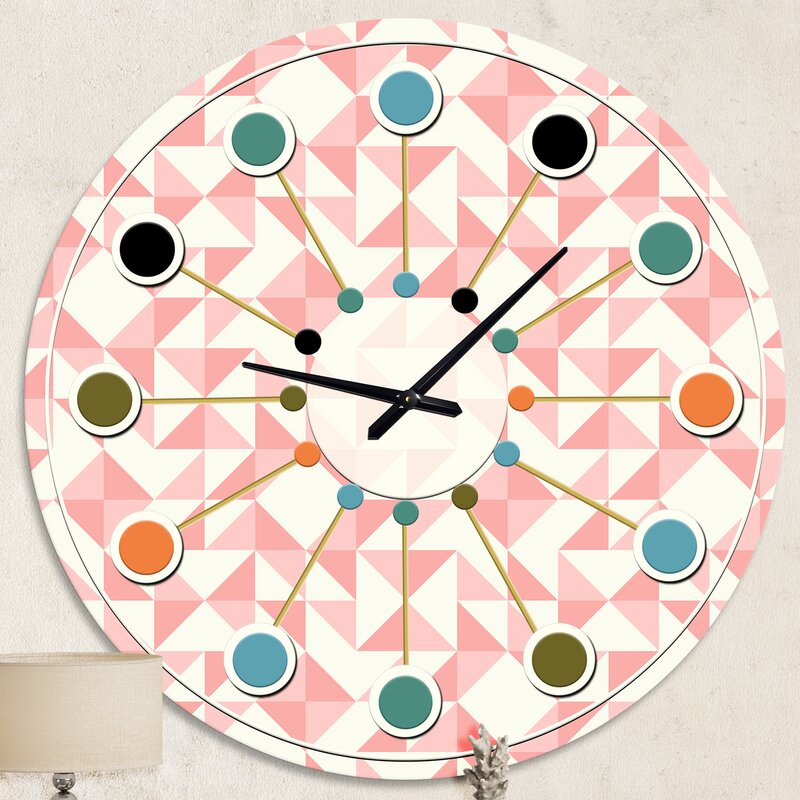 Oversized Abstract Geometric Patchwork Quilting Mid-Century Wall Clock