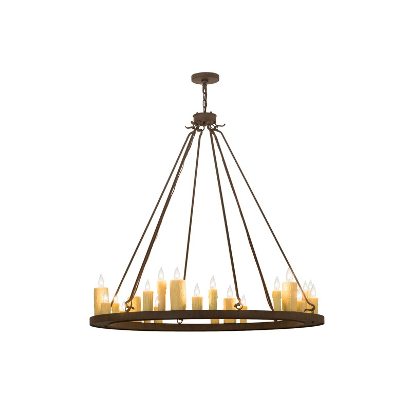 Foundry Select 24 Light Candle Style Wagon Wheel Chandelier Wayfair
