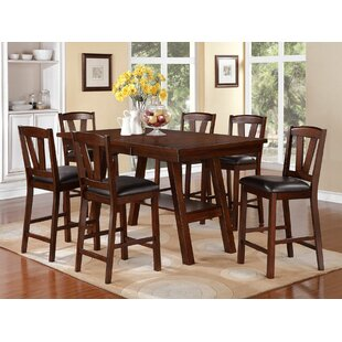 Kaneshiro 7 Piece Counter Height Solid Wood Dining Set Alcott Hill