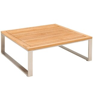 Heilman Stainless Steel And Teak Coffee Table By Sol 72 Outdoor