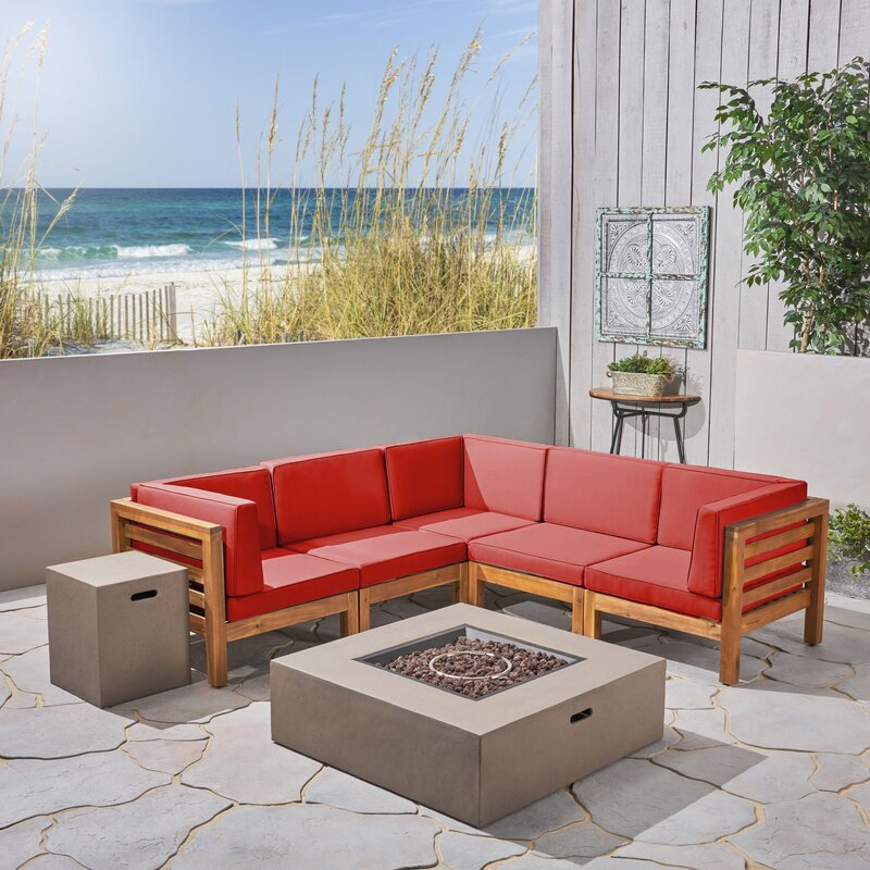 Longshore Tides Neil V-Shaped 7 Piece Sectional Seating Group with Cushions