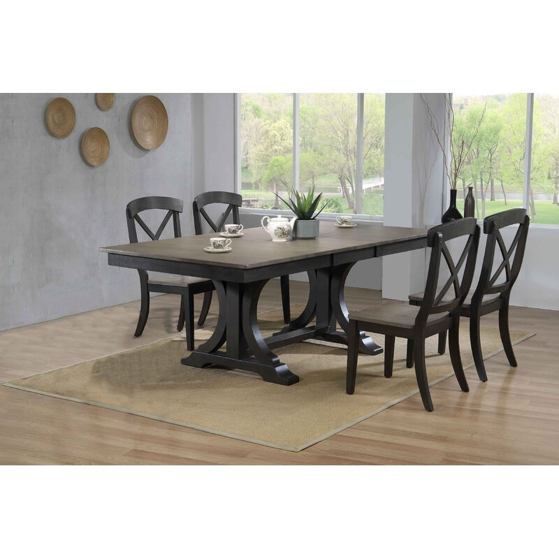 Gracie Oaks Toupin Double Pedestal Deco Transitional X Back 5 Piece Solid Wood Dining Set Wayfair
