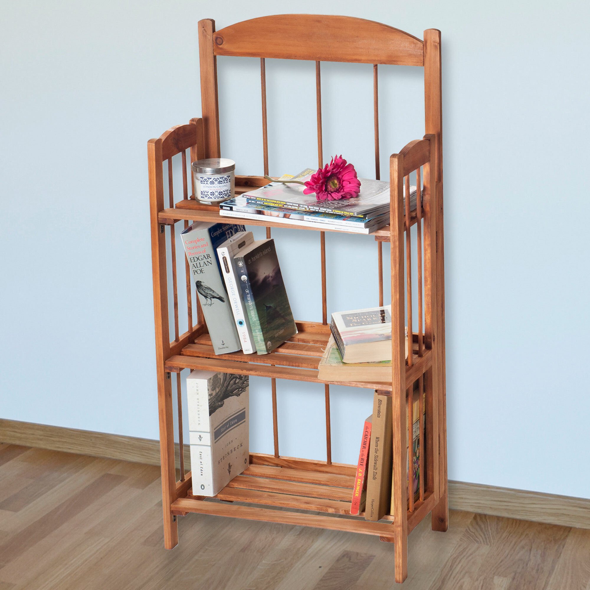 Home Shelving Light Brown 83-11-3 Folding Wood Display Rack for Home and Office Bookcase for Decoration and Organization by Lavish Home- 3 Shelf