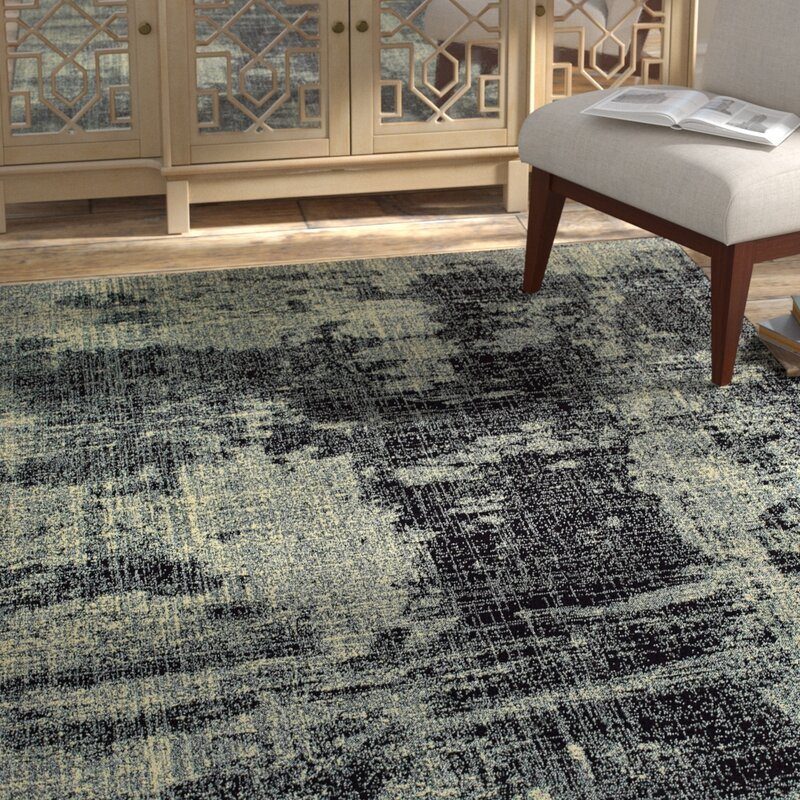 Bloomsbury Market Hedden Power Loom Black Gray Rug Wayfair