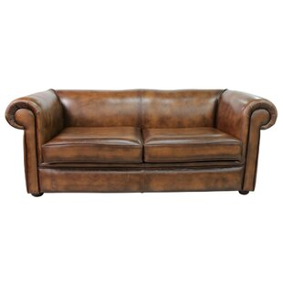 Caudill Genuine Leather 3 Seater Chesterfield Sofa
