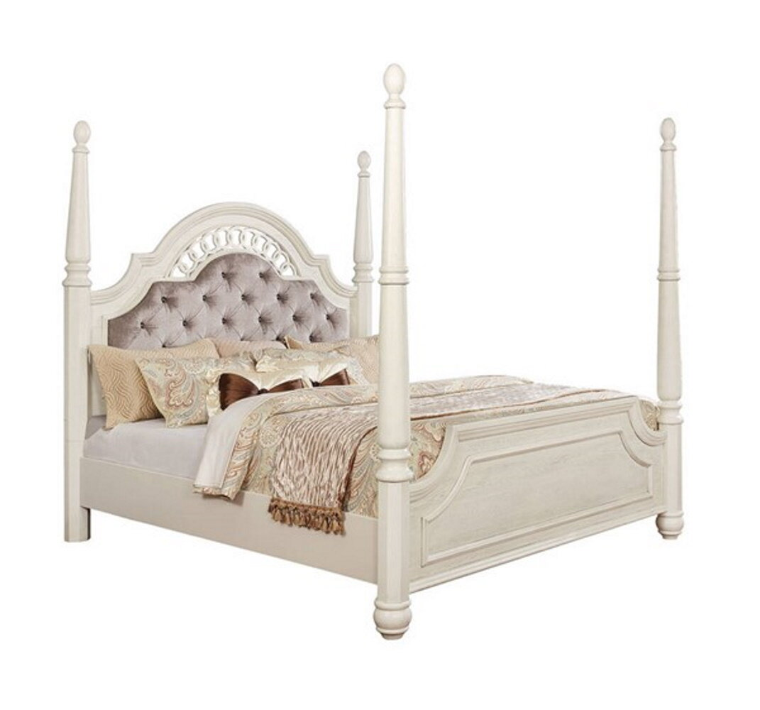 Canora Grey Twerton Queen Tufted Upholstered Four Poster Bed Wayfair