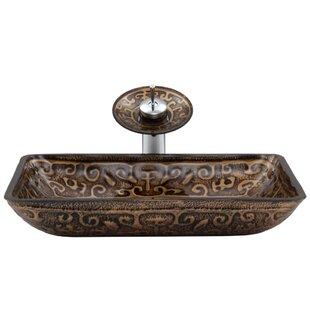 Greek Temepered Glass Rectangular Vessel Bathroom Sink with Faucet by VIGO