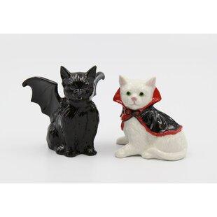 Vampire and Dracula Cat Salt and Pepper Shaker Set