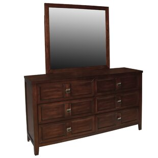 Winston Porter Dunkin 6 Drawers Double Dresser with Mirror