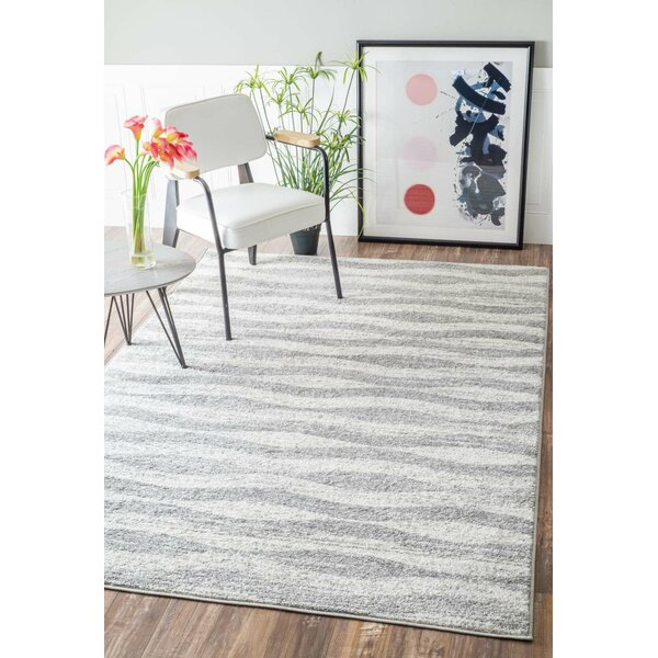 Lada Abstract Waves Grey/White Area Rug