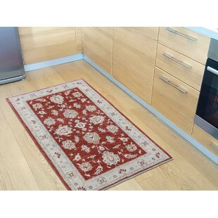Online Reviews One-of-a-Kind Beaumont with Mahal Hand-Knotted 3'1 x 4'10 Wool Red/White Area Rug By Isabelline