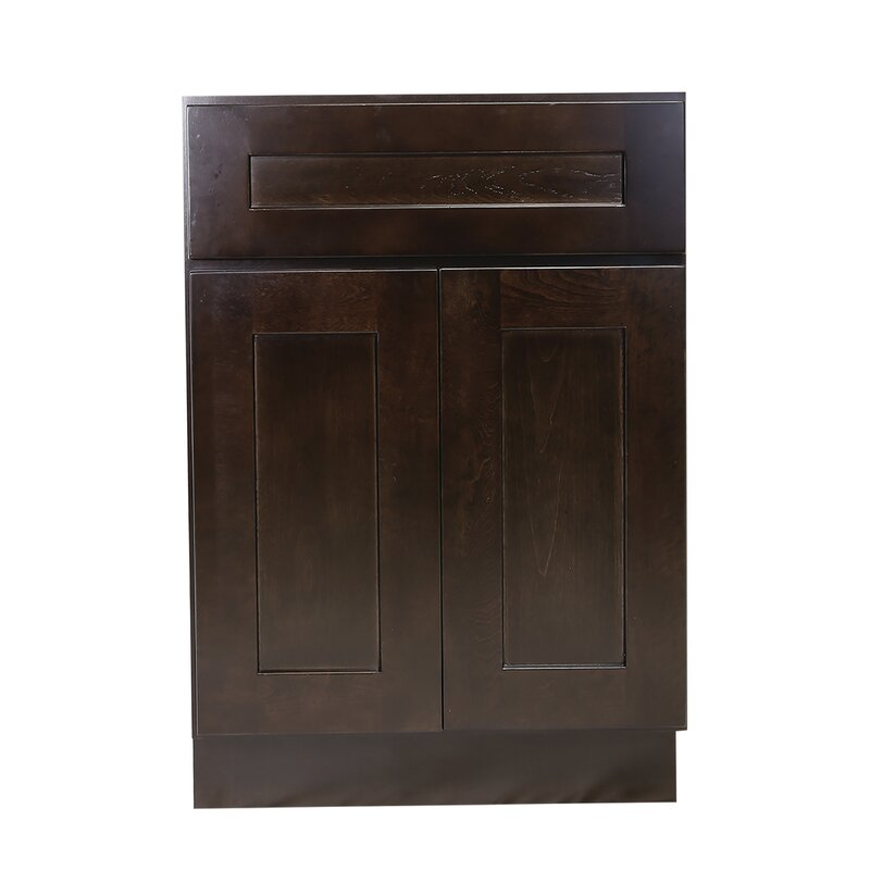 Ebern Designs Frits Fully Assembled 18x34 5x24 In Kitchen Base Cabinet In Espresso Wayfair