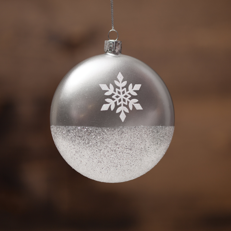The Holiday Aisle Snowflake Glass Ball Ornament Reviews Wayfair