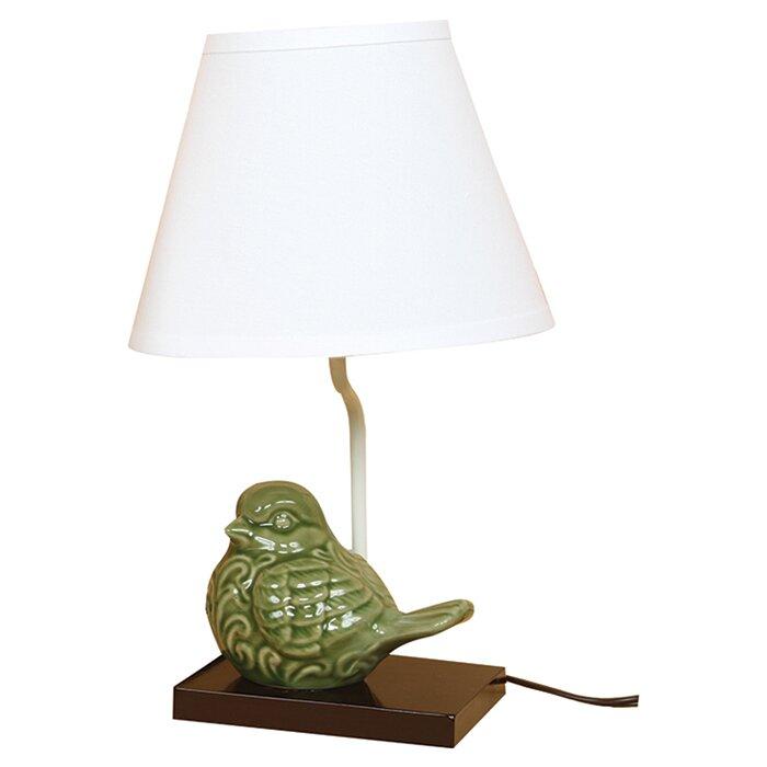 Milan crackle ceramic bird 14 5 table lamp