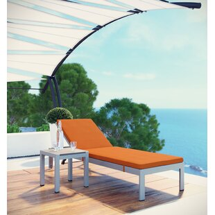 Orren Ellis Coline Patio Chaise Lounge with Cushion