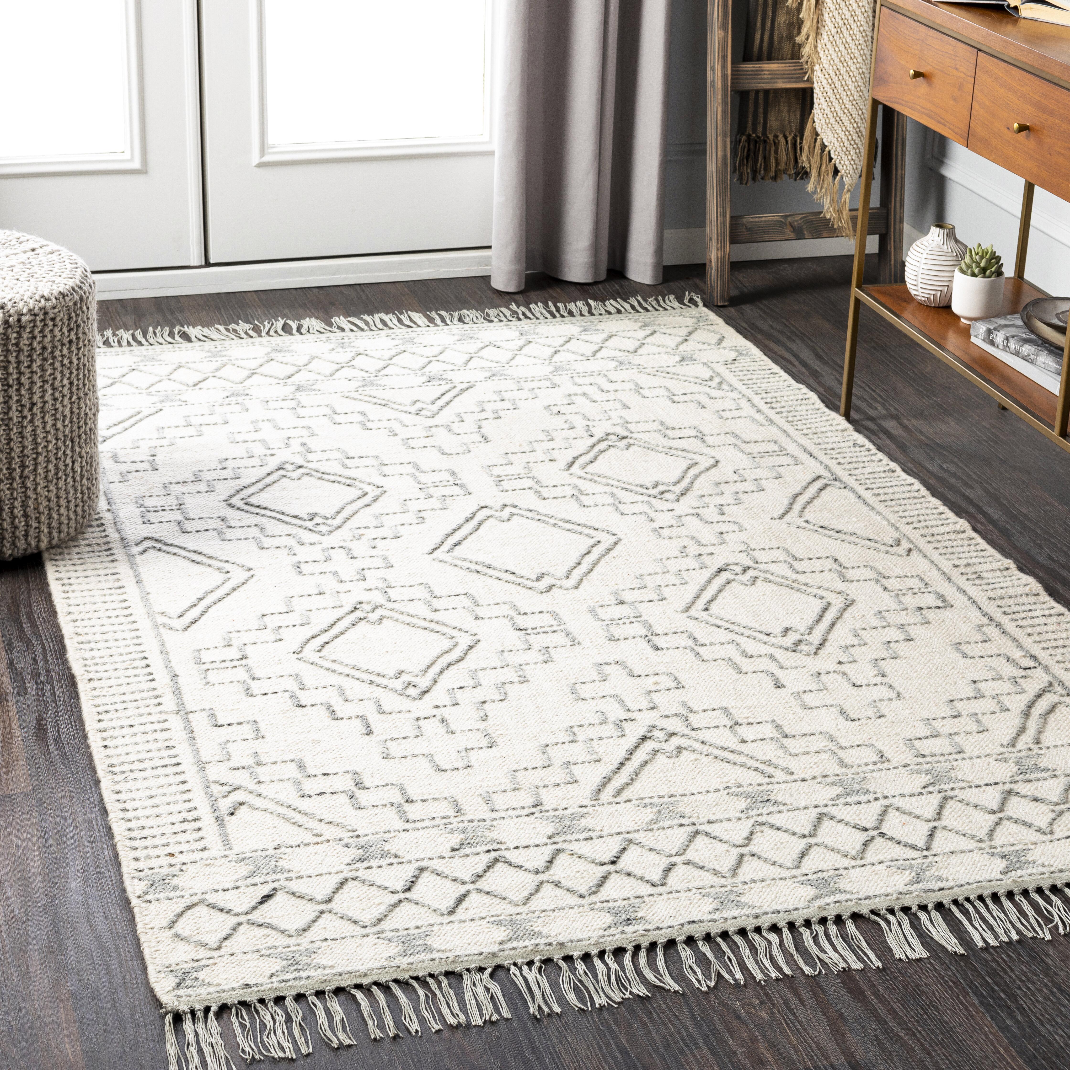 Allmodern Cypres Geometric Hand Tufted Wool Cream Gray Area Rug Reviews Wayfair