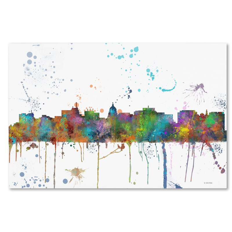 Trademark Art Madison Wisconsin Skyline Mclr 1 Graphic Art On Wrapped Canvas In Green Blue Purple Wayfair