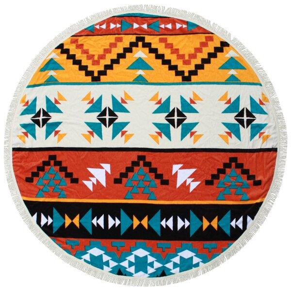 Round Towel Co Boho Aztec Mandala 100 Cotton Beach Towel Wayfair