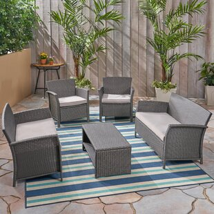 Outdoor 5 Piece Rattan Sofa Seating Group with Cushions