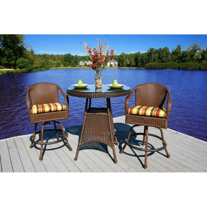 Sensational Fleischmann 3 Piece Bar Height Dining Set With Cushions Uwap Interior Chair Design Uwaporg