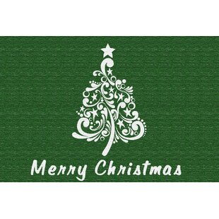 Clearance Onecre Scroll Christmas Tree Green/White Area Rug By The Holiday Aisle
