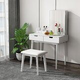 Londonderry Solid Wood Vanity Set with Stool and Mirror by George Oliver