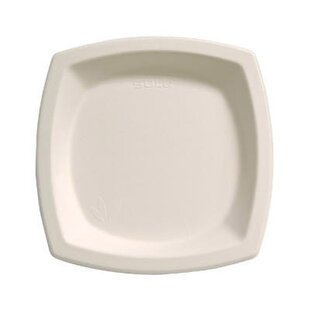 6.7 Bare Eco-Forward Square Sugarcane Plates in Ivory By Solo Cups