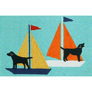 Purchase Walton Sailing Dog Hand-Tufted Blue Indoor/Outdoor Area Rug Online