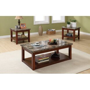 Fleur De Lis Living Cannady 3 Piece Wooden Coffee Table Set With Faux Marble Top