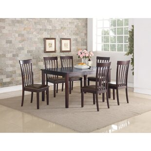 Septimus Rubberwood 7 Piece Solid Wood Dining Set Alcott Hill