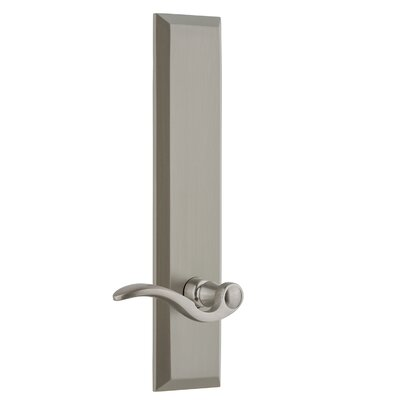 """Fifth Avenue Tall Plate Privacy Door Lever Grandeur Finish: Satin Nickel, Backset: 2-3/4"""", Lever Orientation: Right"""