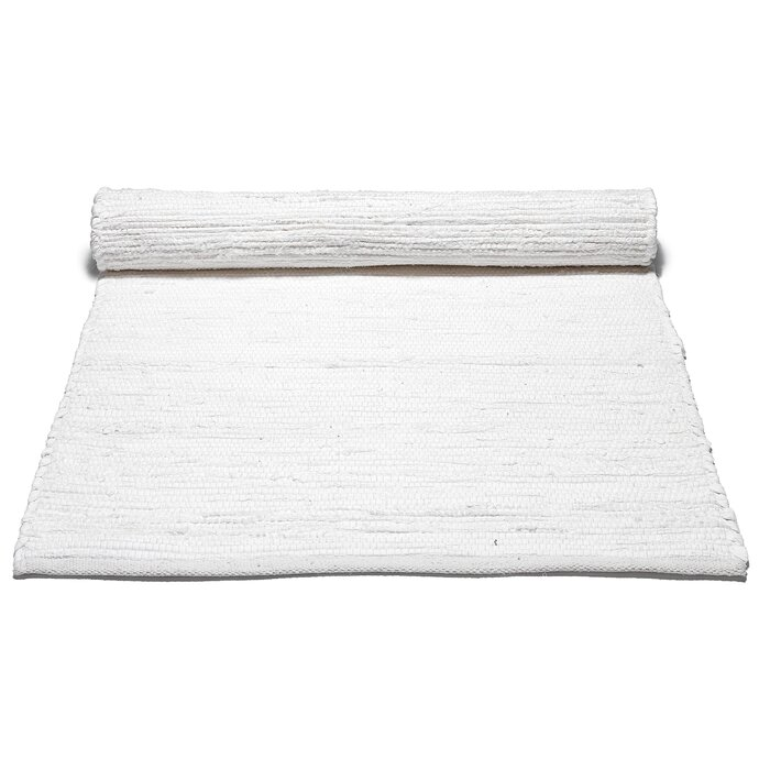 Handwoven Cotton White Area Rug