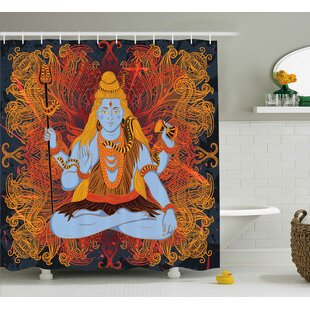 Ouasse Yoga Retro Graphic of Indian Deity God Grunge Fire Mandala Pattern Culture Holy Idol Single Shower Curtain