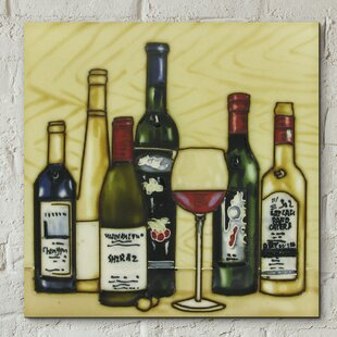 Hand Painted Vintage Wine Selection Kitchen Wall Décor Tile