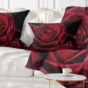 Flowerswork Rose with Raindrops Lumbar Pillow